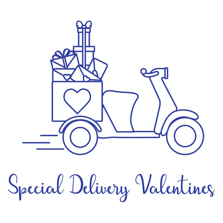 Delivery motorbike. Special delivery valentines. Happy Valentines Day. Romantic background.