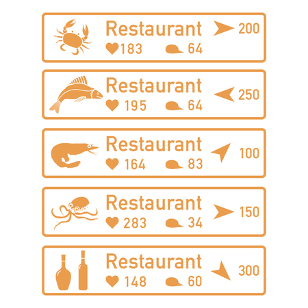 Application of augmented reality: AR for navigation in city or shopping center. Choosing fish restaurant by location, comments and likes. Çizim