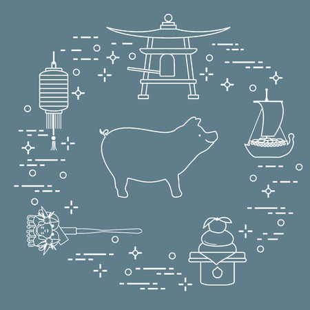 Happy New Year 2019 card. New Year symbols in Japan. Boar, lantern, bell, mochi, orange, treasure ship. Festive traditions of different countries.
