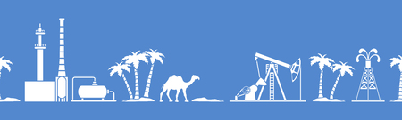 Vector seamless pattern with equipment for oil production, refinery plant, camel, palm trees. Heading or footer banner. Design for wrapping, fabric, poster or print. 向量圖像
