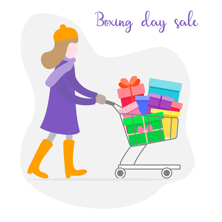 Girl with shopping cart full of gifts. Shopping women. Big Sale. Special Offer. Design concept for banner,  promotional materials, print. Illustration