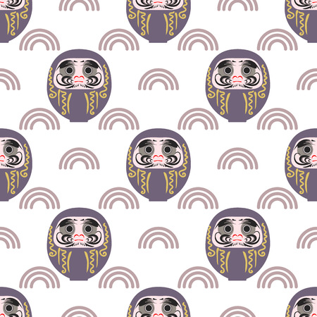 Happy New Year 2019 seamless pattern with daruma - Japanese traditional doll.  Roly-poly toy vector illustration. The annual new years ritual of making a wish.