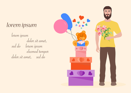 Young man with flowers and gift boxes, balloons, soft toy bear. Birthday, Valentine's day, Mother's Day vector background. Design for greeting card, banner, poster or print.