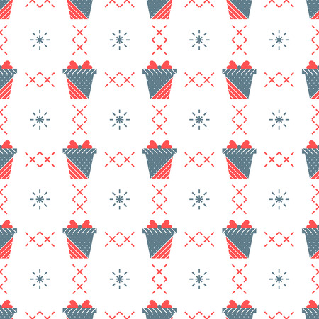 Seamless pattern with gift boxes. Presents. Happy New Year 2019, Christmas, Birthday, mothers day vector background. Sale, shopping concept.