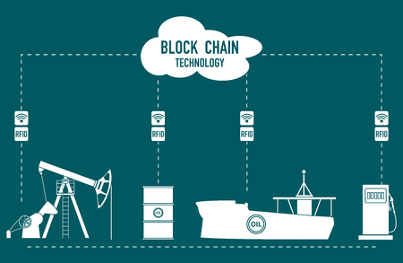 Blockchain. RFID technology. Extraction, transportation, storage, sale of petroleum products. From the supplier to the consumer. Stok Fotoğraf - 127096744
