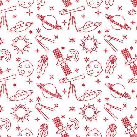 Seamless pattern with telescope, UFO, satellite, planets, astronaut, orbital station, sun, stars. Space exploration. Astronomy. Science.