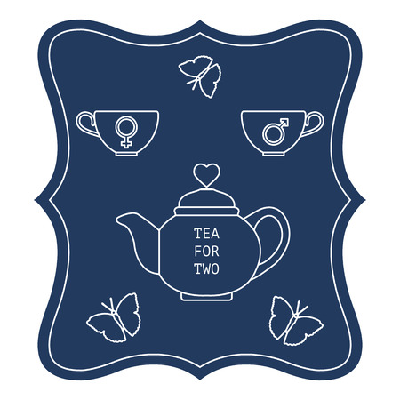 Vector illustration with teapot and two cups of tea with gender signs, butterflies. Tea for two. Happy Valentine's Day. Design for party card, banner, poster or print. Illustration