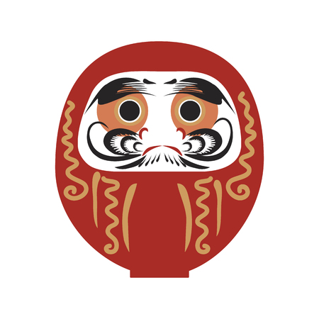 Daruma - Japanese traditional doll.  Roly-poly toy. The annual new year's ritual of making a wish. Happy New Year 2019 vector illustration.  イラスト・ベクター素材