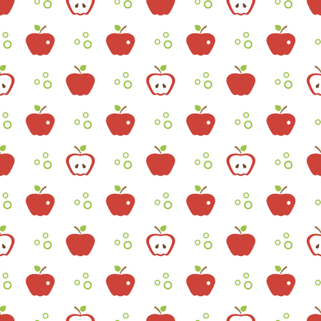 Seamless pattern with apples. Vector illustration with apple and leaf. Fruit background. Design for poster, textile, greeting card. Illustration