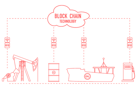 Blockchain. RFID technology. Extraction, transportation, storage, sale of petroleum products. From the supplier to the consumer. Vecteurs