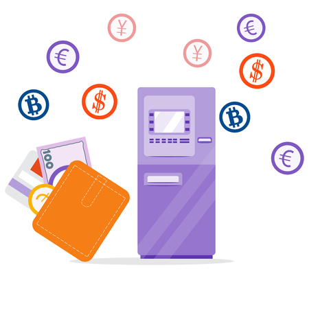 Vector illustration with automatic teller machine or ATM, coins, currencies, wallet with bank card, banknote. Personal finance management. Design for banner, poster or print. Foto de archivo - 126826152