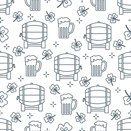 Seamless pattern with clover leaves, beer barrel, beer mug. St. Patrick's Day. Holiday background. Irish vector pattern. Design for banner, poster, textile, print.
