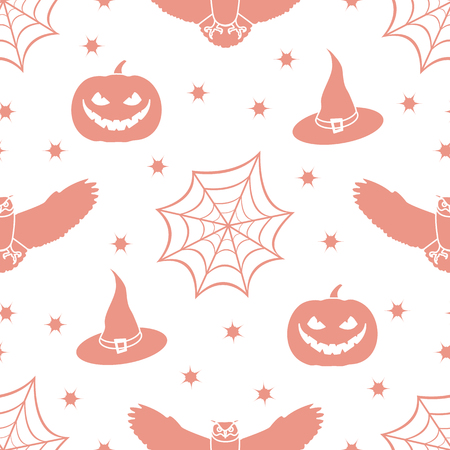 Halloween 2019 vector seamless pattern with cobweb, eagle owl, pumpkin, hat, witch, stars. Design for party card, wrapping, fabric, print. Ilustração