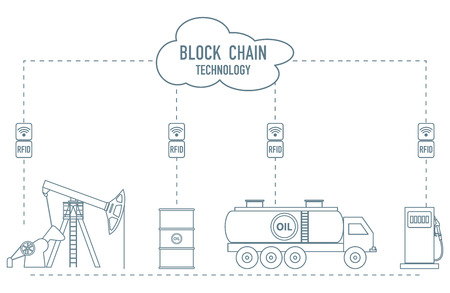 Blockchain. RFID technology. Extraction, transportation, storage, sale of petroleum products. From the supplier to the consumer. Vektorgrafik