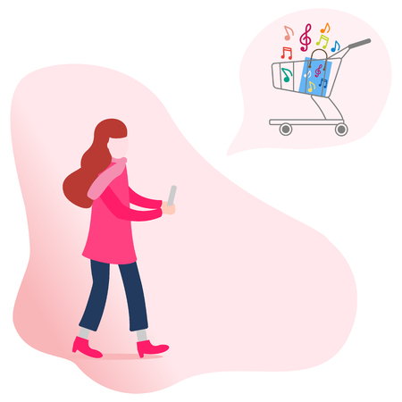 Application of augmented reality: AR for navigation in city or shopping center. Girl with modern device plans to make purchases in a music store. Stock Illustratie
