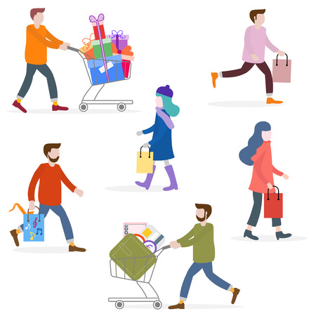 Vector illustration with people go shopping, carry shopping. Big sale and shopping concept. Design for banner, poster or print. Vettoriali