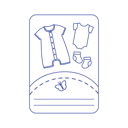 Vector illustration with baby clothes. Slip, socks, bodysuit. Things necessary for newborns.