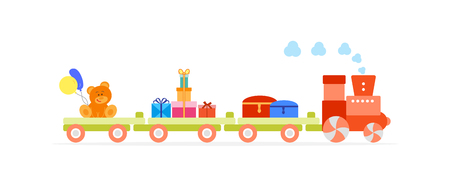 Funny vector illustration with train carries toys: dower chest, bear, gifts, balloons. Happy New Year 2019, Christmas, Birthday. Sale, shopping concept. Vectores