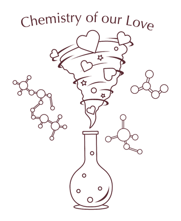 Vector illustration with flask, hearts tornado. Love emotions. Inscription chemistry of our love. Love message. Happy Valentine's Day. Romantic background.