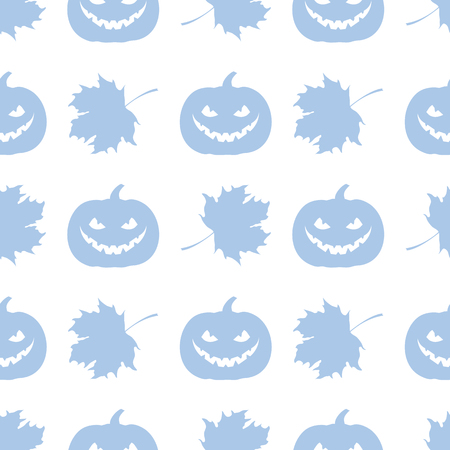 Halloween 2019 vector seamless pattern with pumpkin and maple leaves. Design for party card, wrapping, fabric, print.