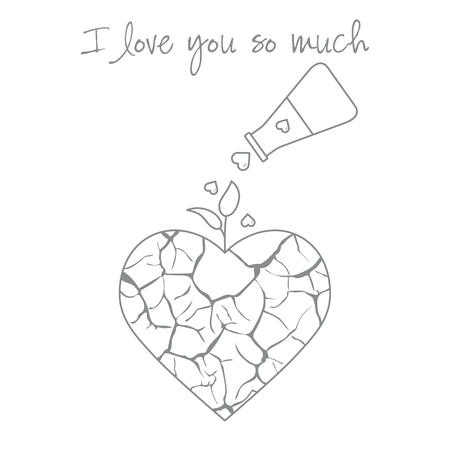 Vector illustration with broken heart, sprout makes its way after it is poured with love from a vessel. Inscription: I love you so much. Design for party card, banner, poster or print. Vektoros illusztráció