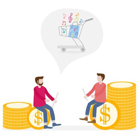 Toepassing van augmented reality: AR voor navigatie in stad of winkelcentrum. Mannen met een modern apparaat zijn van plan om aankopen te doen in een muziekwinkel. Vector Illustratie