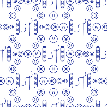Seamless pattern with needles, buttons, threads. Sewing and needlework background. Template for design, fabric, print. Иллюстрация