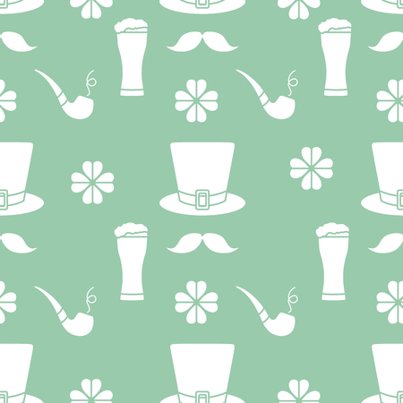 Seamless pattern with clover leaves, mustache, glass of beer, hat, smoking pipe. St. Patrick's Day. Holiday background. Irish vector pattern. Design for banner, poster, textile, print. Vettoriali