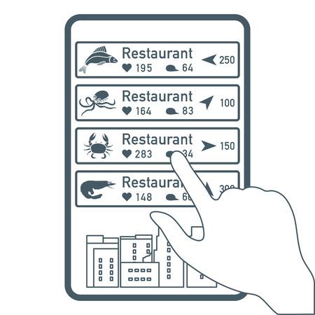 Aplicación de realidad aumentada: RA para navegación en ciudad o centro comercial. Elegir restaurante de pescado, restaurante de mariscos por ubicación, comentarios y me gusta por teléfono.