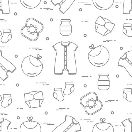 Nahtloses Muster mit Waren für Babys. Neugeborenes Baby Hintergrund. Lätzchen, Babynahrungsdose, Rassel, Socken, Windeln, Body.