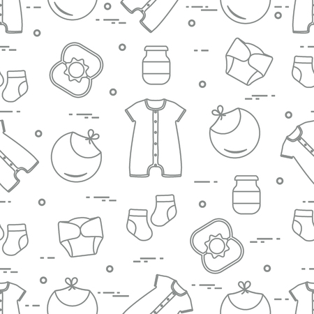 Seamless pattern with goods for babies. Newborn baby background. Bib, baby food can, rattle, socks, diapers, bodysuit. Иллюстрация