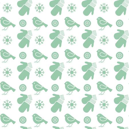 Modèle sans couture d'hiver de vecteur avec des flocons de neige, des oiseaux, des mitaines. Fond de Noël et nouvel an 2019. Conception pour l'emballage, le tissu, l'impression. Vecteurs