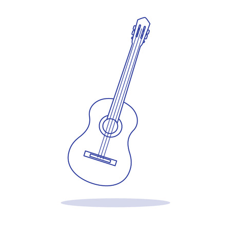Vector illustration with guitar. Acoustic guitar. String musical instrument.