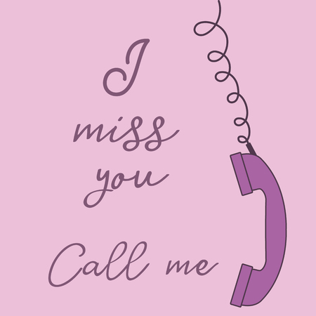 Vector illustration with handle handset. Inscription i miss you call me. Romantic background. 向量圖像