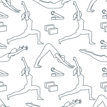Seamless pattern with women in yoga poses, blocks, belt for yoga. Relax and meditate. Healthy lifestyle. Balance training. Design for banner and print. Ilustração
