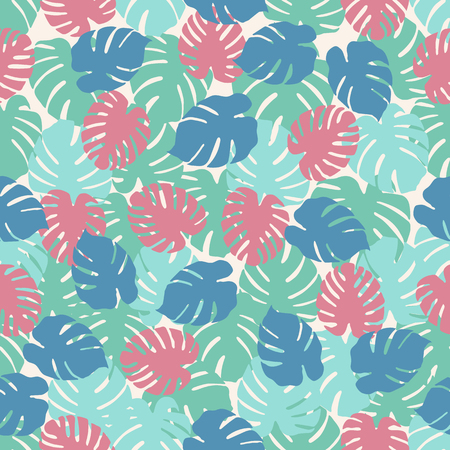 Seamless pattern with monstera leaves. Tropical background. Design for banner, poster, textile, print.  イラスト・ベクター素材