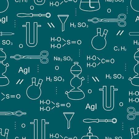 Patrón transparente de vector científico con matraces, quemadores, embudos, herramientas y fórmulas. Elementos educativos. Química, biología, medicina.