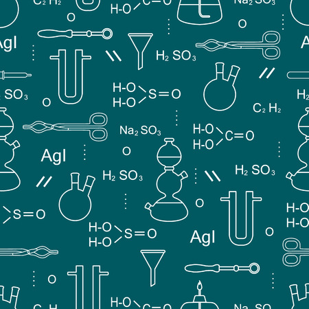 Scientific vector seamless pattern with flasks, burners, funnels, tools and formulas. Education elements. Chemistry, biology, medicine.