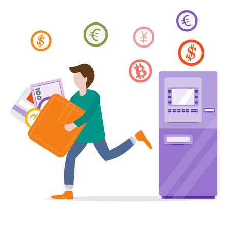 Vector illustration with man goes from ATM or automatic teller machine with a wallet, bank card, banknote, coin. Personal finance management. Design for banner, poster or print.