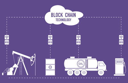 Blockchain. RFID technology. Extraction, transportation, storage, sale of petroleum products. From the supplier to the consumer. 写真素材 - 126470320