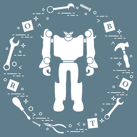 Robot, cubes with letters, toy tools (screwdriver, wrench, screw, hammer). Toys for children. Robotics, technologies. Design for banner, poster or print.