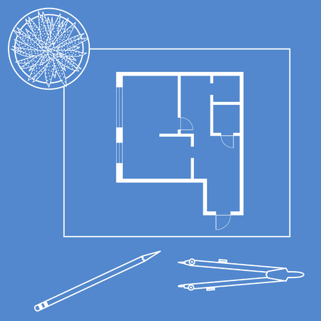 Vector illustration with apartment plan, compass, pencil, cactus. Architecture project.