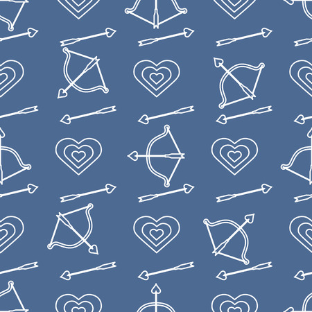 Seamless pattern with bow, arrows, target, hearts. Greeting card happy Valentine's Day. Romantic background. Design for banner, poster or print.