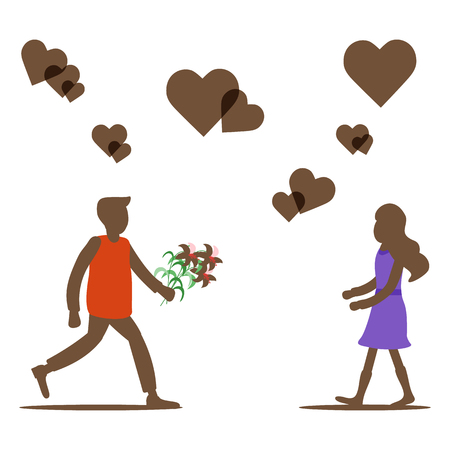 Young man with flowers rushing for a date with woman, hearts. Birthday, Valentine's day, Mother's Day vector background. Design for greeting card, banner, poster or print. Ilustração