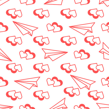 Seamless pattern with paper airplane, hearts. Greeting card happy Valentine's Day. Romantic background.