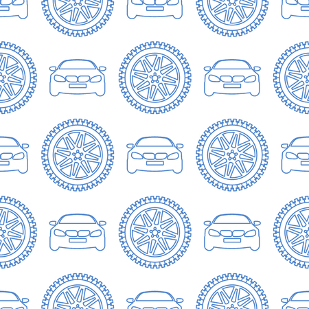 Seamless pattern with cars and wheels. Automotive background. Transport backdrop.