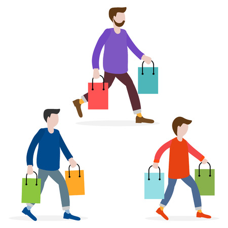 Men carry shopping bags from sale. Shopping men. Big sale. Black Friday. Men bought many gift bags. Special Offer. Design concept for banner, promotional materials, print.