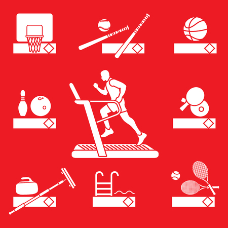 Time to fitness and sports. Healthy lifestyle. Running track with running man. Equipment for playing games and team sports. Stock Illustratie