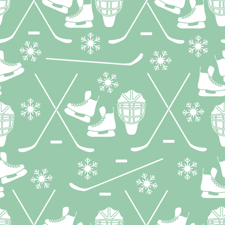 Seamless pattern with skates, goalkeeper mask, hockey stick, ice hockey puck, snowflakes. Winter sports background. Hockey equipment. Games, hobbies, entertainment.