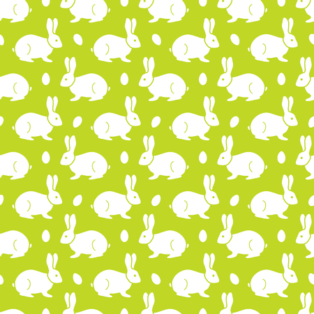 Seamless pattern with Easter Bunny, eggs. Happy Easter. Festive background. Design for banner, poster or print.